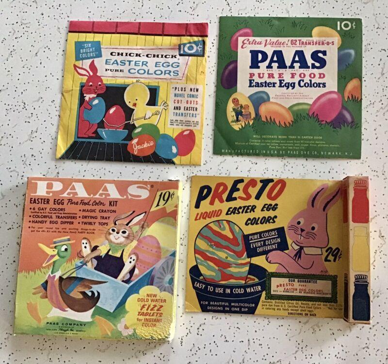 Vintage Lot Easter Egg PAAS Color Dye PRESTO Liquid Dye Transfers 50s 60s Disney