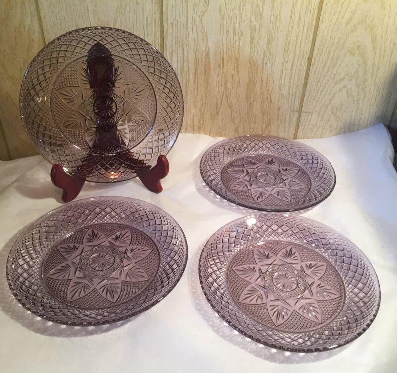 "Set Of 4 Indiana Tiara Glass Amethyst Purple Sandwich Luncheon Plates 8"" EUC"