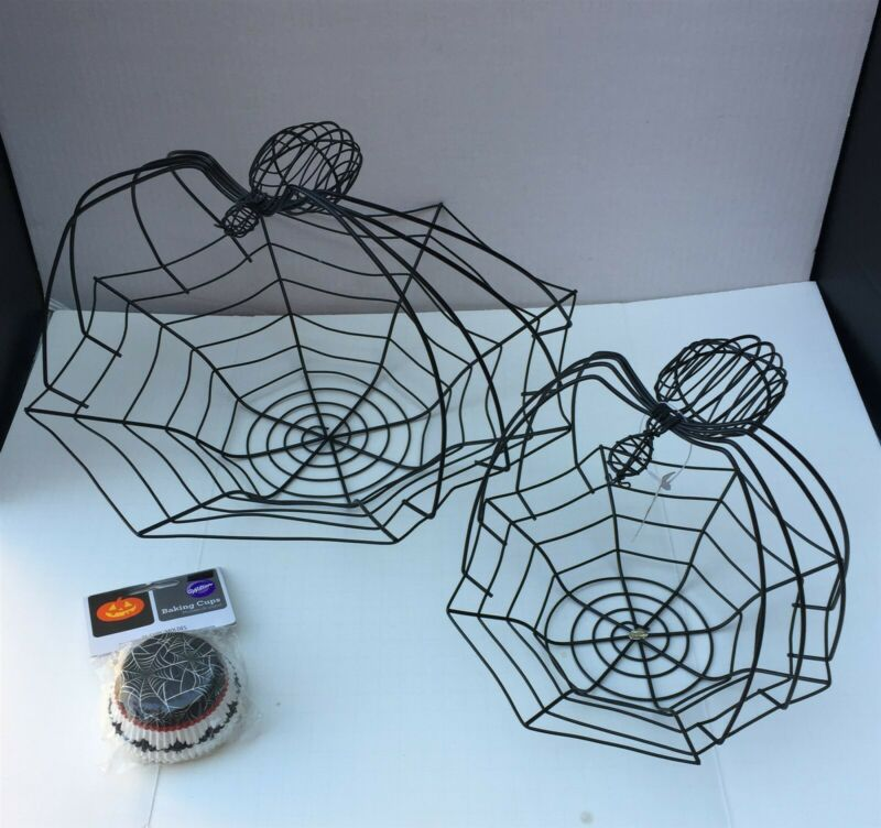 "SPIDER WEB BASKETS 14.5"" & 9"" Black Metal Wire Bowl Server + Wilton BAKING CUPS"