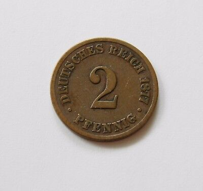KAISERREICH: 2 Pfennig 1877 B, J. 2, schön/sehr schön !!! SEHR SELTEN !!!