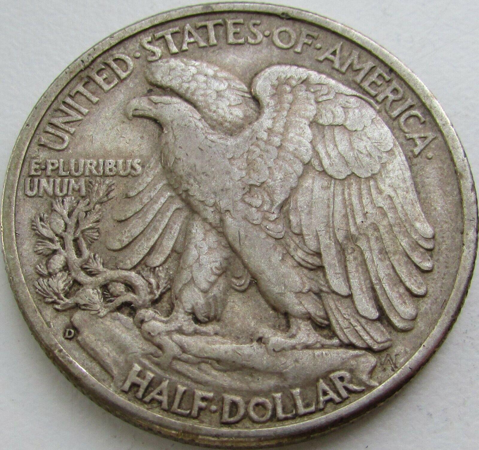 1938-D Walking Liberty Silver Half Dollar In A SAFLIP - AU- XF  - $139.99