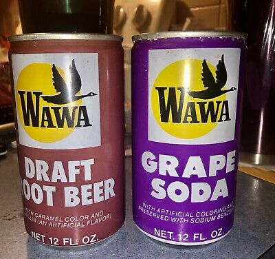 BOTH VINTAGE GRAPE & ROOT BEER WAWA 12 OZ. SODA CANS 1970's ONLY ONE ON EBAY WOW