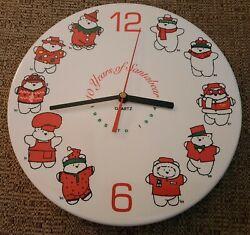 Vtg Dayton Hudson Santabear Ceramic Commemorative Wall Clock Quartz 1985-1994