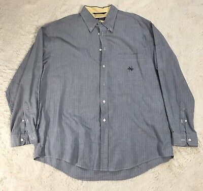 Vintage Nautica Mens Long Sleeve Button Striped Shirt Size XL/TG Word Logo