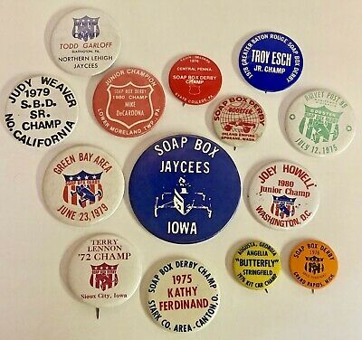 Huge Lot Of Vintage 1970s Soap Box Derby Pinback Buttons Iowa Ohio Michigan