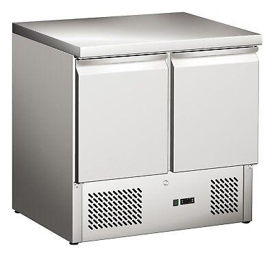 Arbeitstisch Türen (Kühltisch mit Edelstahl Arbeitsplatte und 2 Türen - 900x700x870mm - GN1/1)