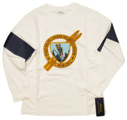 Polo Ralph Lauren Boys White Ski Bear Graphic Cotton Jersey Long Sleeve T-Shirt