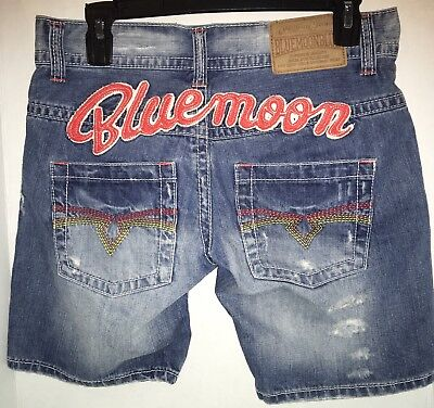 Blue Moon Cotton Shorts - Blue Moon Blue Jean Shorts Size 27 Size 8 Surfer Embellished Distressed B3