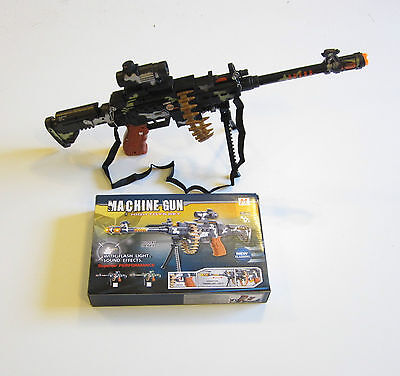 1 TOY MACHINE GUN WITH LIGHTS SOUND SCOPE BULLETS & STAND MILTARY ASSAULT RIFLE - Toy Gun With Sound