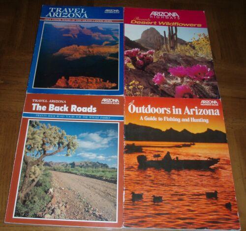 LOT OF 4 ARIZONA HIGHWAYS SOFTCOVER BOOKS-OUTDOORS-BACK ROADS-TRAVEL AZ-FLOWERS