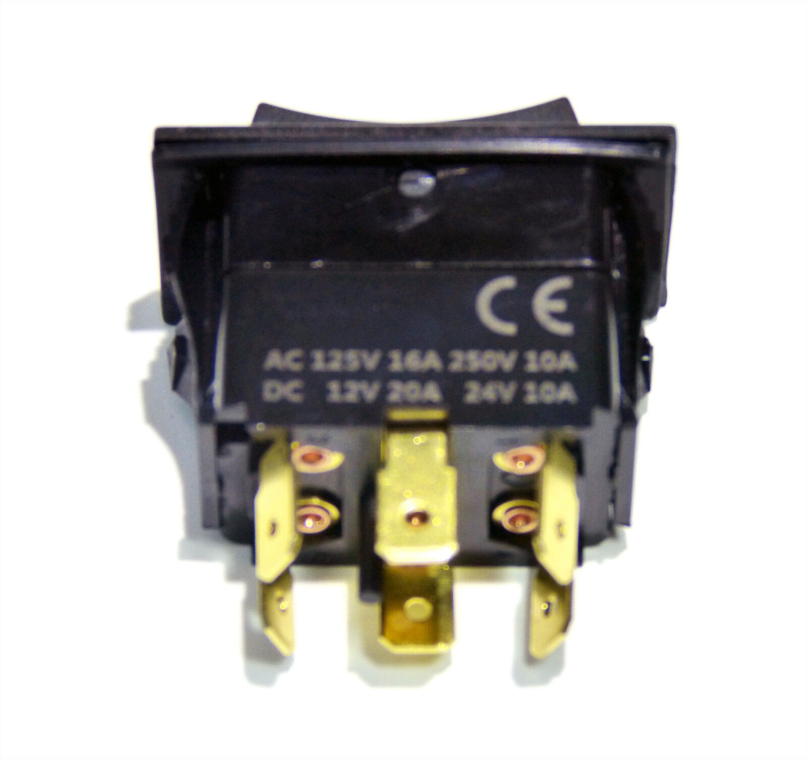 ROCKER SWITCH - ON OFF ON - MOMENTARY SNAP IN - DPDT 20A Up to 30A ...