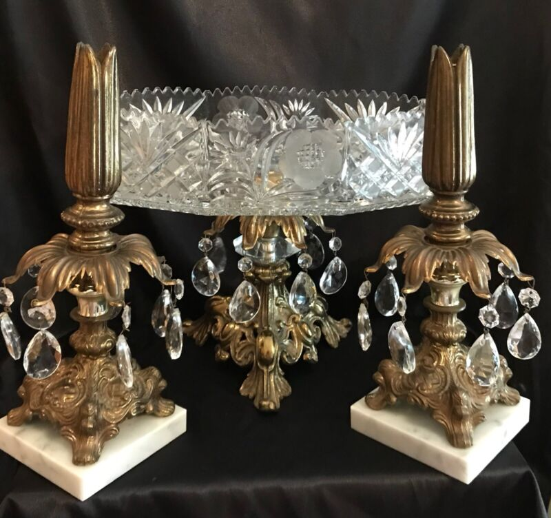 AntIque Centerpiece Set Cornell Crystal Brass Marble Compote & Candle Holders