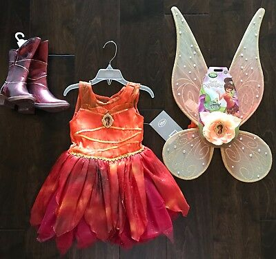 Disney Fawn Costume (Disney Store Girls 3 Fawn Fairy Dress Costume Wings Boots 7-8 Tinker)