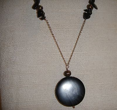 Black agate disc necklace accented w/agate chips & grey pearls sterling - Black Agate Disc
