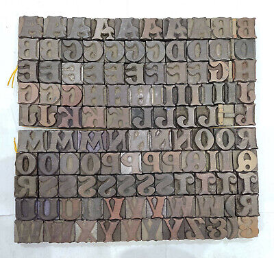 Vintage Letterpress Woodwooden Printing Type Block Typography 117 Pc 27mmtp-54