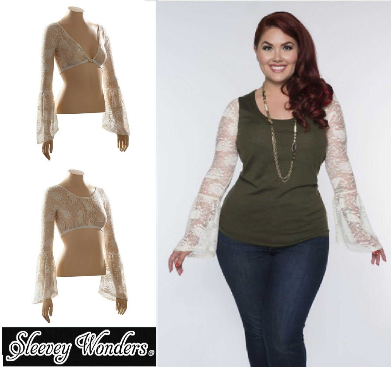 d42bb619e3d51 Details about SLEEVEY WONDERS 40702 BELL-Sleeve SHAPEWEAR SLEEVES TOP  Stretch LACE IVORY PLUS