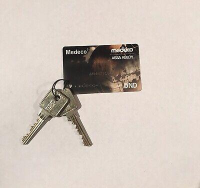 Medeco Card With 2 Keys JADL 6 Pin.