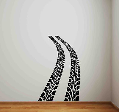 Tire Track Wall Decal Road Race Car Bed Vinyl Sticker Racing Decor Kids Art 664 for sale  Shipping to Canada