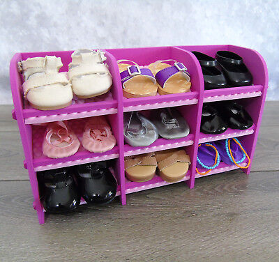 """NEW Springfield Boutique SHOE RACK Fits 8 Pair Of American Girl 18"""" Doll Shoes!"""