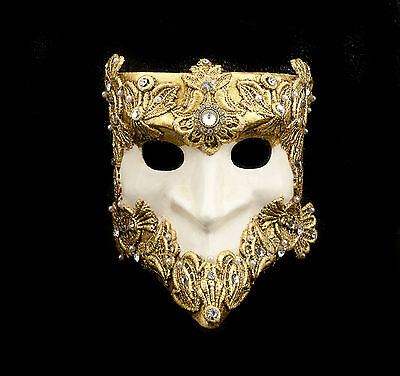Mask from Venice Bauta Macrame White and Golden Authentic Venetian 272