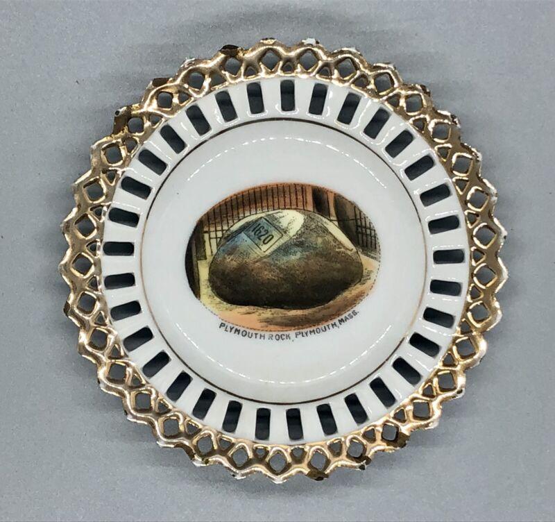 "Plymouth Rock Decorative Porcelain 4"" Dish Plate, Gold Edging, Mass. Souvenir"