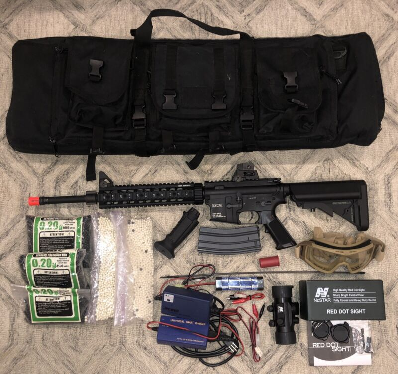 KWA Full Metal KM4A1 Carbine AEG Airsoft Rifle With assorted Accessories