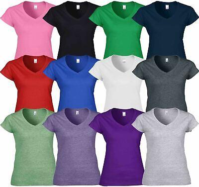 Gildan Womens Ladies Soft Style Plain V-Neck T-Shirt Cotton Tee Tshirt - Gildan Ladies Tee