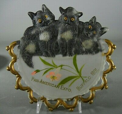 Antique Three Kittens Plate -- Souvenir 1901 Pan-American Expo