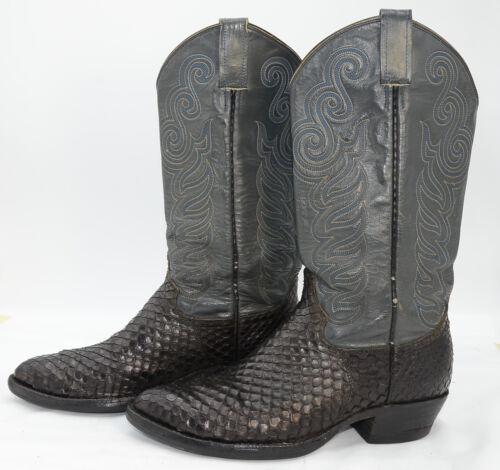 Vtg, Mens, Sz, 8, Snake, Skin, Leather, Western, Cowboy, Riding, Motorcycle, Biker, Boots
