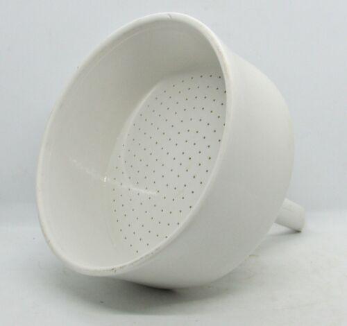 "Coors Laboratory Ceramics - White Porcelain Sieve - 7"" Diameter Great Shape"
