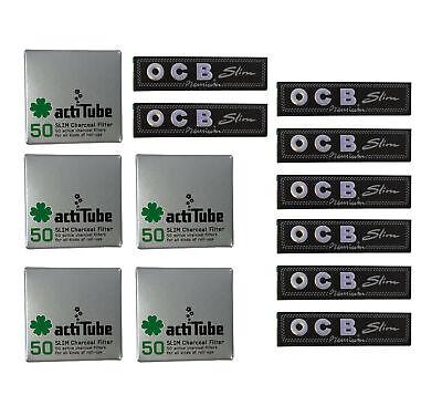 actiTube (Tune) Aktivkohle Filter Slim 7mm (5x50) 250 STK + 8x OCB Premium slim