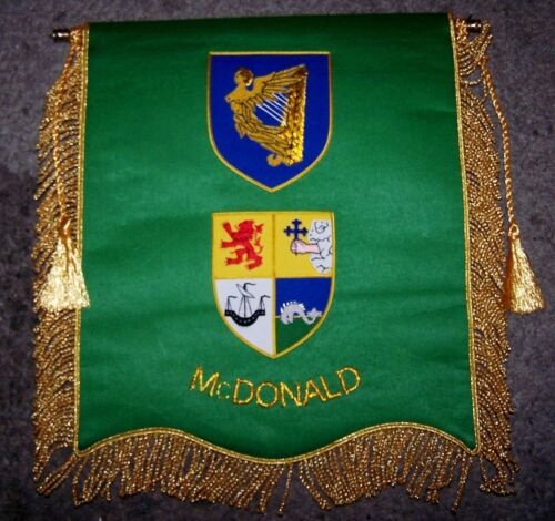 Irish Ireland Celtic Clan McDonald Crest Heraldry Family Name Motto Banner Flag