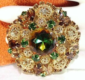 Vtg-JULIANA-Topaz-Olivine-WATERMELON-Rhinestone-Lg-FILIGREE-BALLS-Brooch-PIN