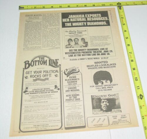 Thin Lizzy Blackmore Rainbow Concert AD Advert 1976 Tour Casino Asbury Park NJ