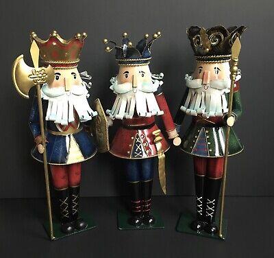 Metal Tin 3 Kings Nutcrackers Figures Statues Christmas Holiday