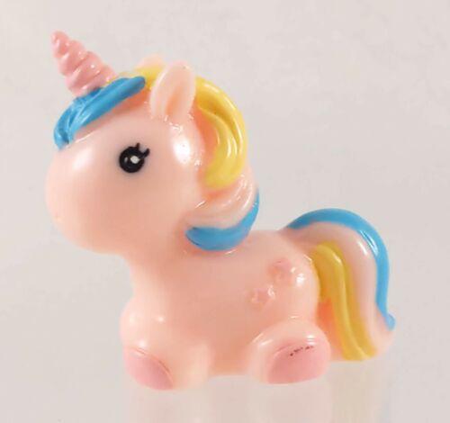 Mini 4cm Long Resin Unicorn Pony Figurine Pink w/ Multicolor Mane/Tail