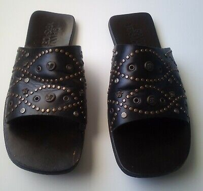Gianni Versace Men's Black Sandals Made In Italy Size 43 US Size 9 1/2