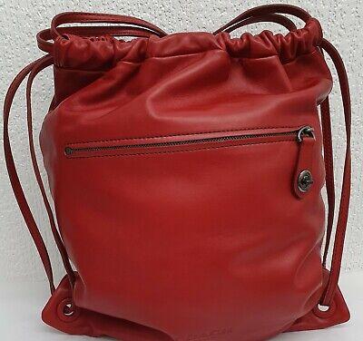 NWOT COACH MEDIUM RED DRAWSTRING BACKPACK LEATHER BAG