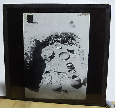 c1900 ANCIENT UNCOVERED GRAVE SITE ~ Glass Lantern Photo Slide
