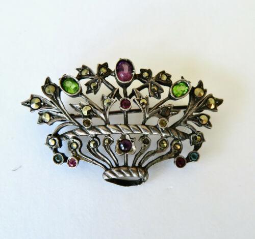 Antique Sterling Silver Basket Flowers Pin Brooch Peridot Amethyst Marcasites