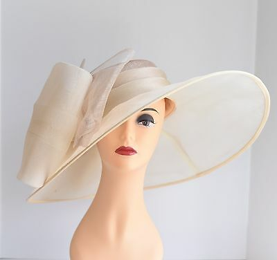 Church Kentucky Derby Carriage Tea Party Wedding Wide Brim Hat Sand/Cream