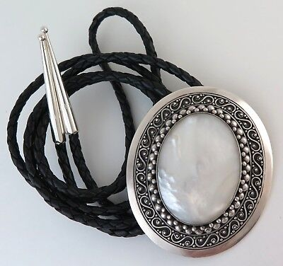 BIG XL Sterling Silver & Mother of Pearl Ornate Southwestern Bolo Tie