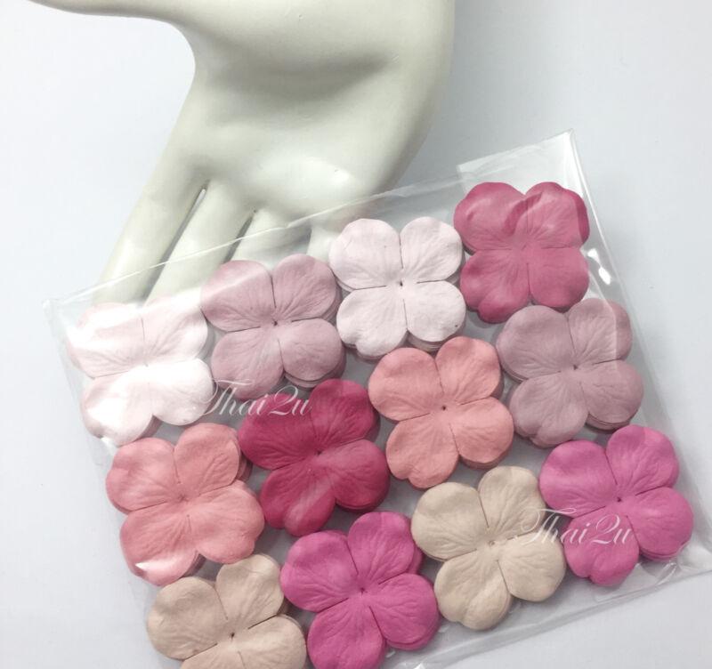 100 Pink Mix Hydrangea Mulberry Paper Flower Scrapbooking Craft Card ZP10-00