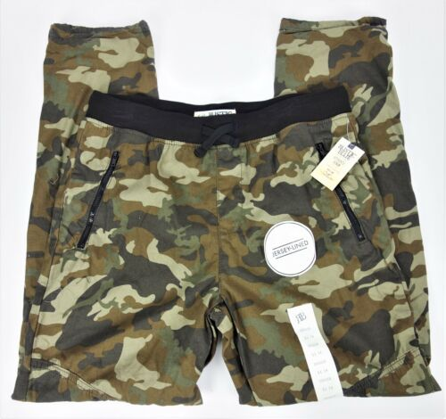 Youth XL 18 Green Camo Pants Twill Joggers Jersey Lined Pull On