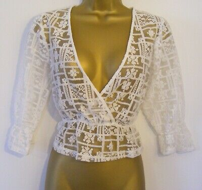 New Zara White Embroidered Sheer Tulle Crossover Bust Top Blouse Size 8 10 S M