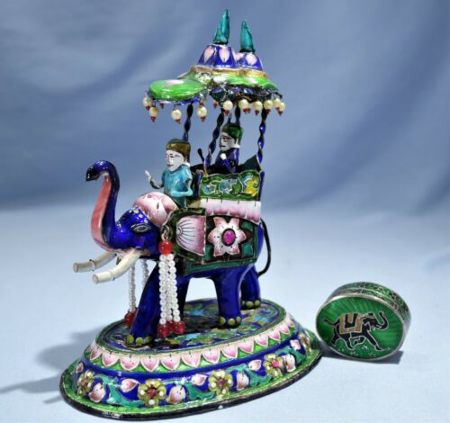 India Sterling Silver Enamel Large Ceremonial Elephant Figure Silver Enamel Box