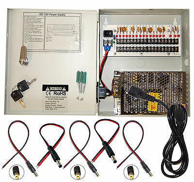 16 Channel 12V DC 10A with 18pcs DC Jack CCTV Power Supply for Security Camera