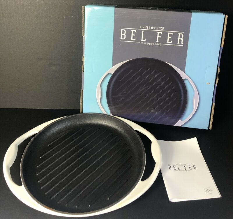 "DwellSix Bel Fer Blue, 10"" Round Grill Pan, Limited Edition, White (NIB)"
