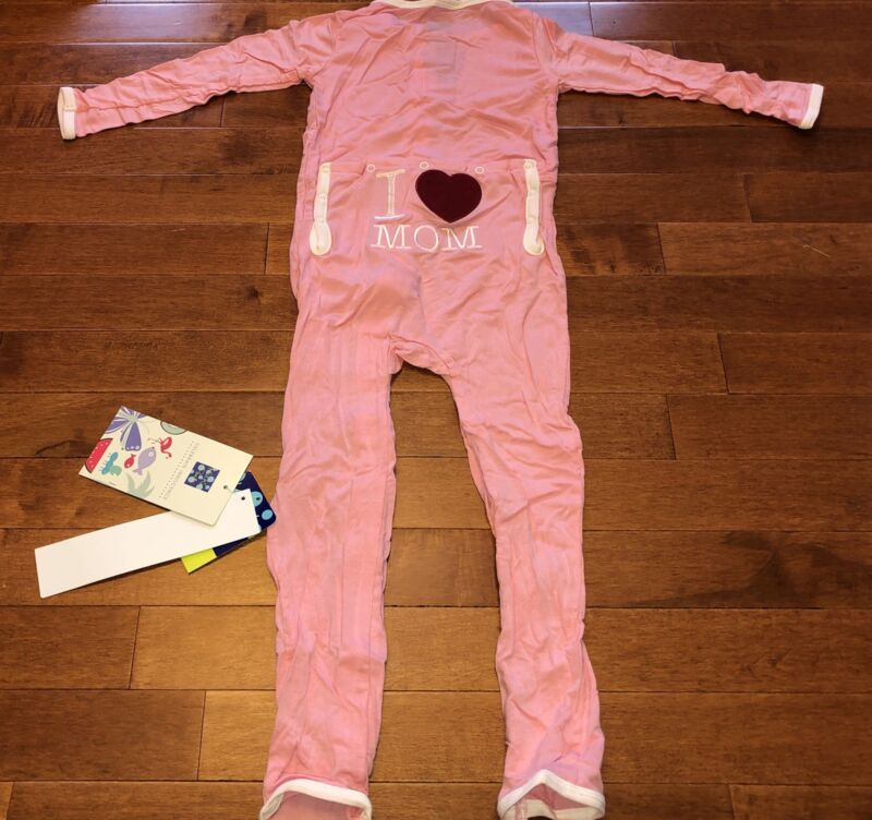 Kickee Pants Toddler Girl Lotus I Love Mom Appliqué Coverall 4T New