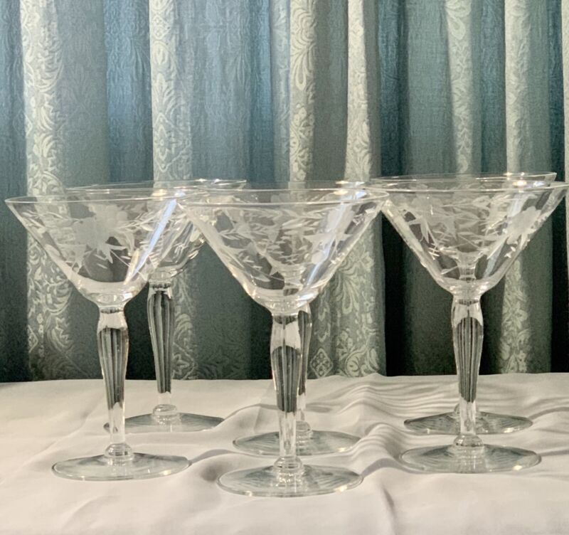 Vintage Crystal etched and cut cocktail glasses